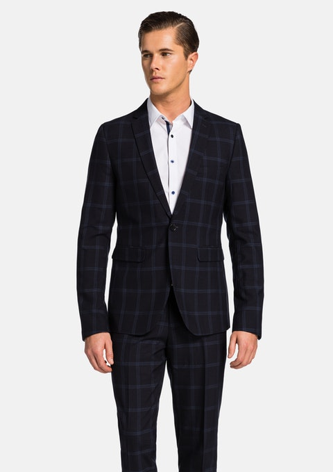 Navy Check Lucas Check Skinny Suit Jacket