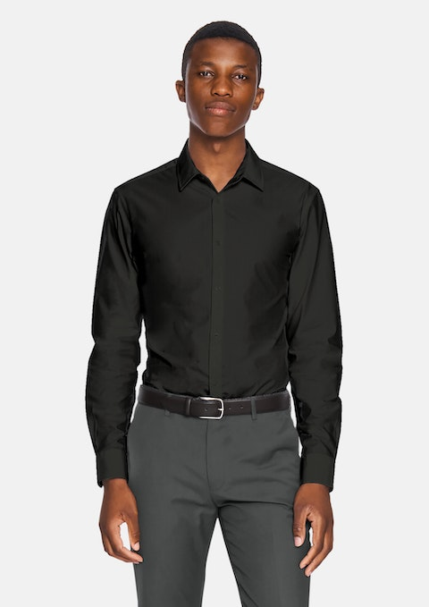 Black Largo Slim Fit Dress Shirt