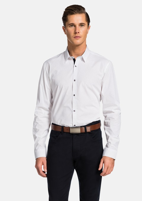 White Acton Slim Fit  Shirt