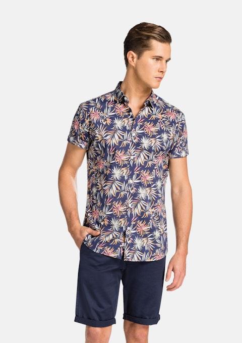 Navy Floral Thornberry  Ss Shirt