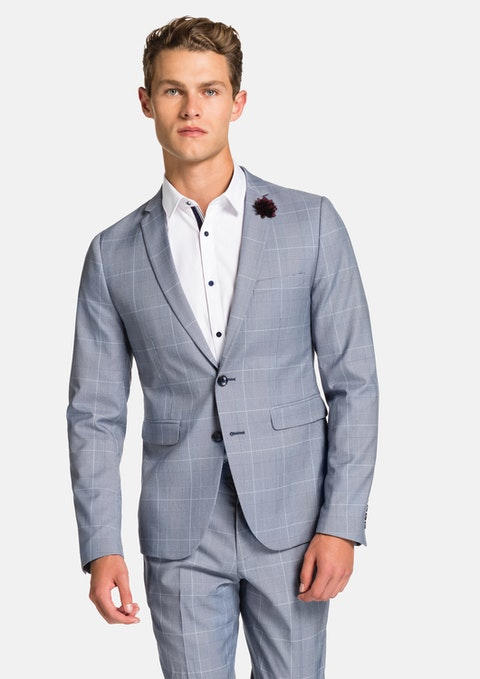Blue Hurracan Check Skinny Suit Jacket