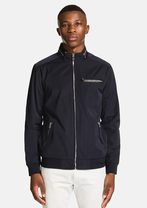 Navy Revolver Zip  Jacket