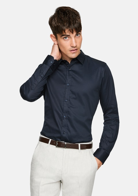 Navy Mission Slim Fit Dress Shirt