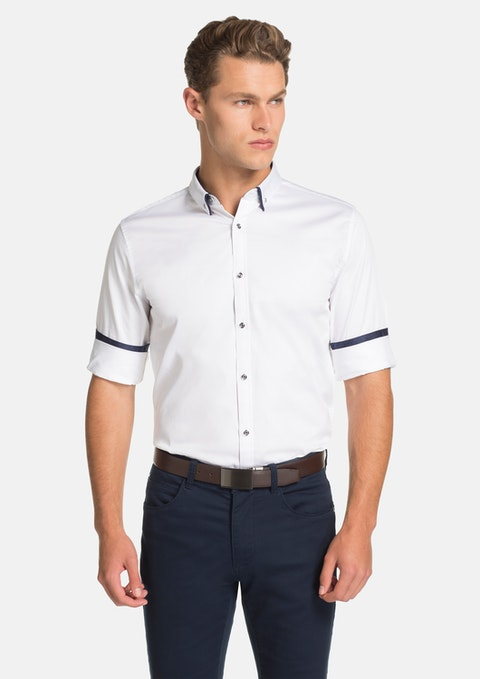 White Monaco Slim Fit Dress Shirt