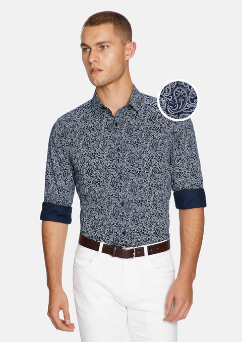 Navy/white Elvis Paisley Slim Shirt