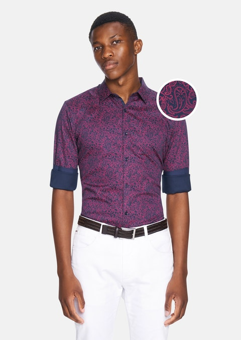 Dark Blue Elvis Paisley Slim Fit Shirt