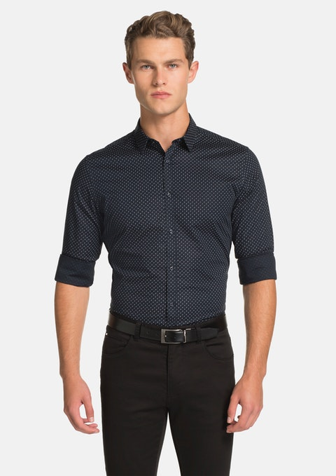 Dark Blue Arrow Slim Fit Shirt