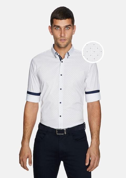 Burgundy Print Roka Slim Shirt