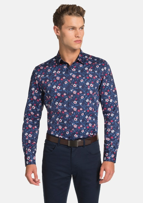 Navy Botanical Slim Fit Shirt