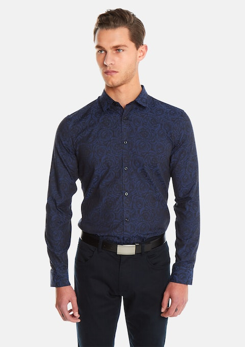 Navy Rose Jacquard Slim Fit Shirt