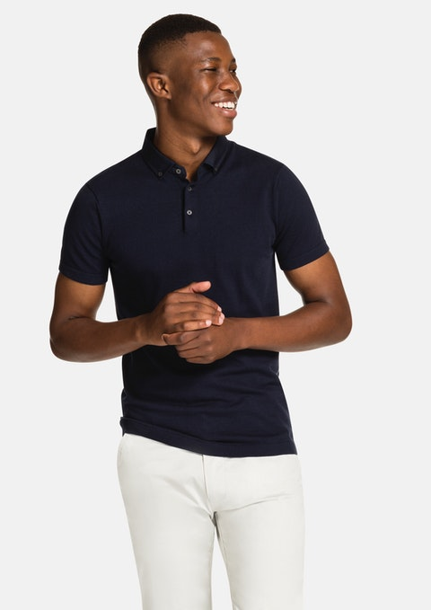 Navy Base Knitted Polo