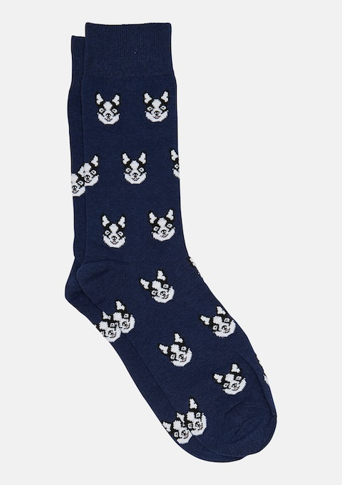 Blue French Bulldog Sock