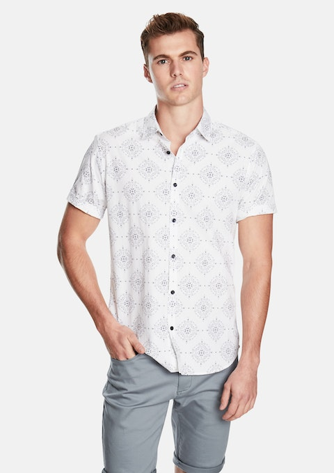 White Diamond Paisley Ss Shirt