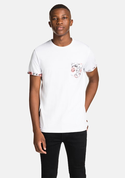 White Contrast Slv Tee