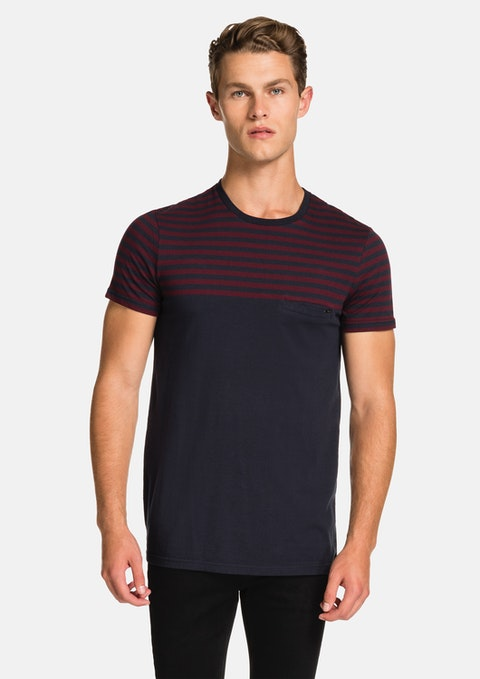 Navy Block Stripe Tee