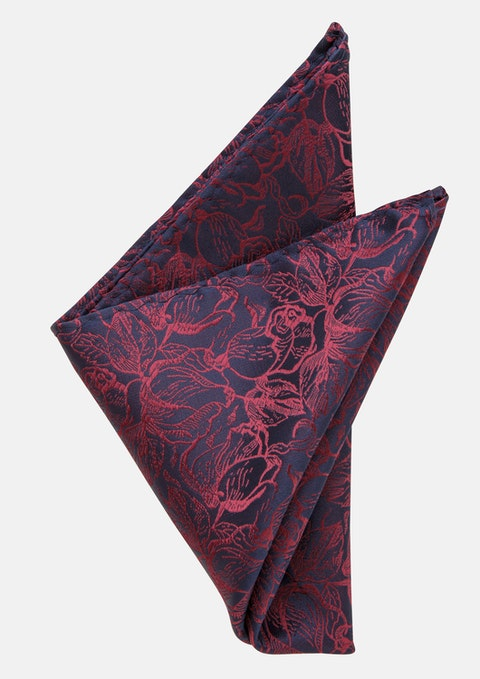 Burgundy/navy Presley Paisley Pocket Square