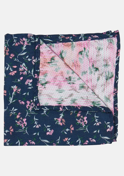 Navy Floral Force Floral Pocket Square