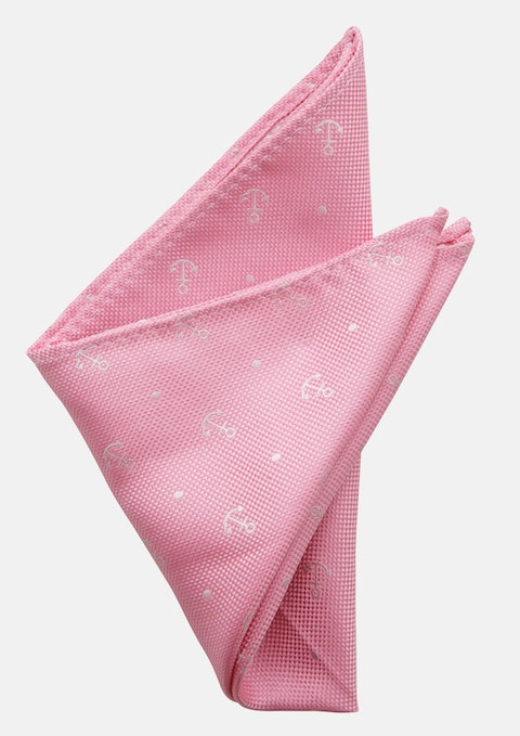 Pink Anchor Pocket Square