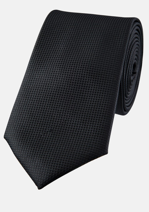 Black Lewis Textured 6.5cm Tie