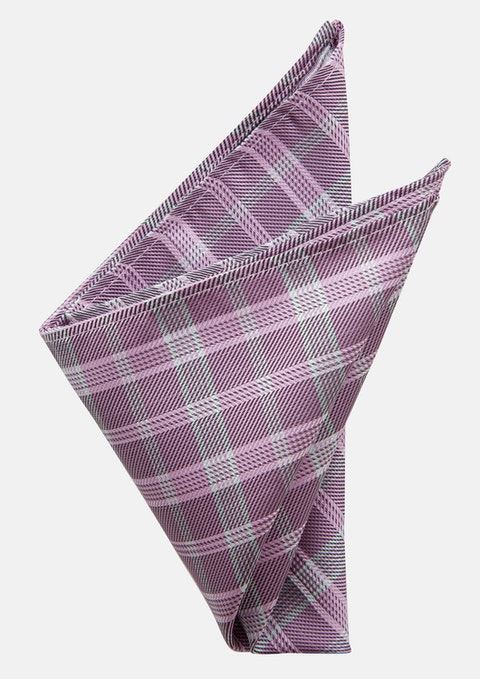 Lilac Beatle Check Pocket Square