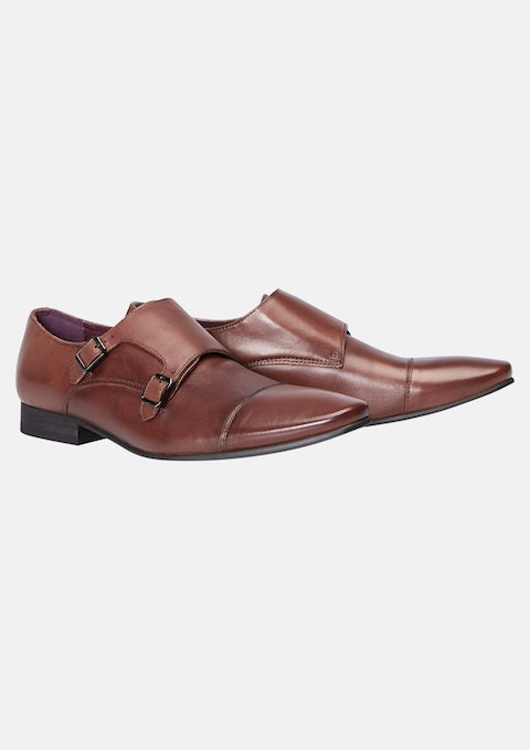 Tan Brown Franklin Monk Strap Dress Shoe