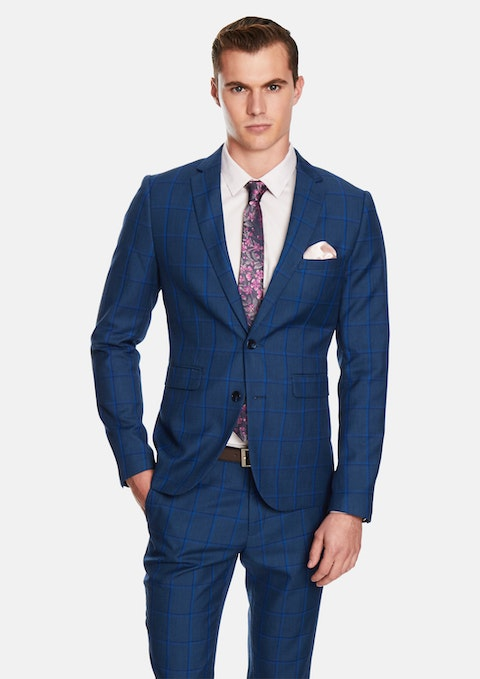 Blue Check Dean Skinny Fit Suit Jacket