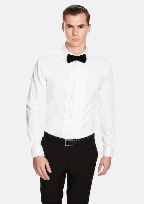 White Caviar Pleated Slim Dress Shirt