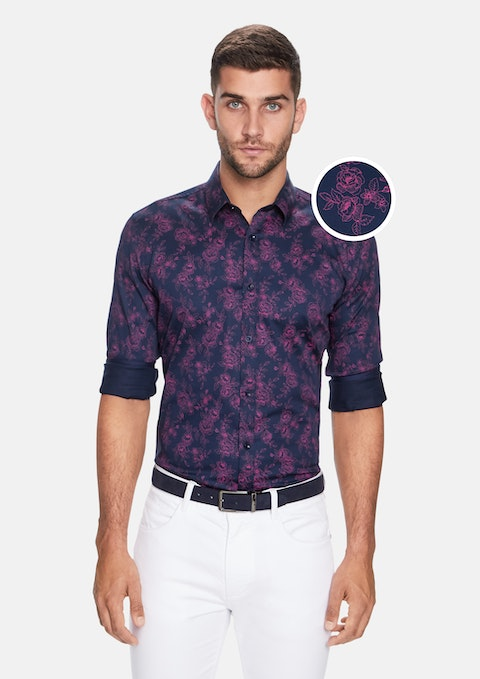 Navy Floral Slim Shirt