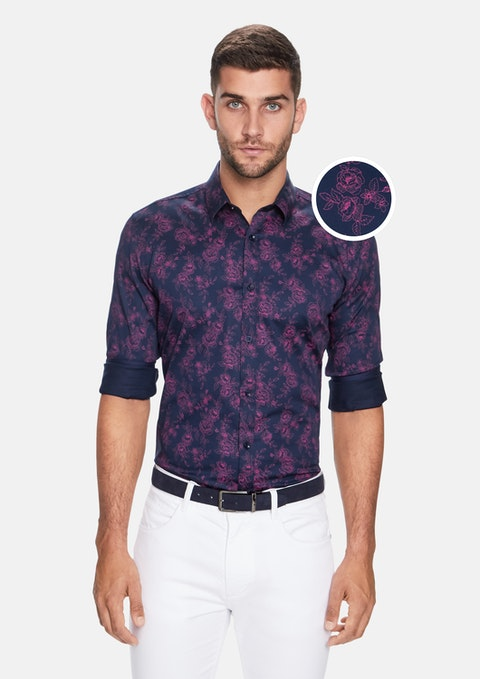 Navy Floral Slim Fit Shirt