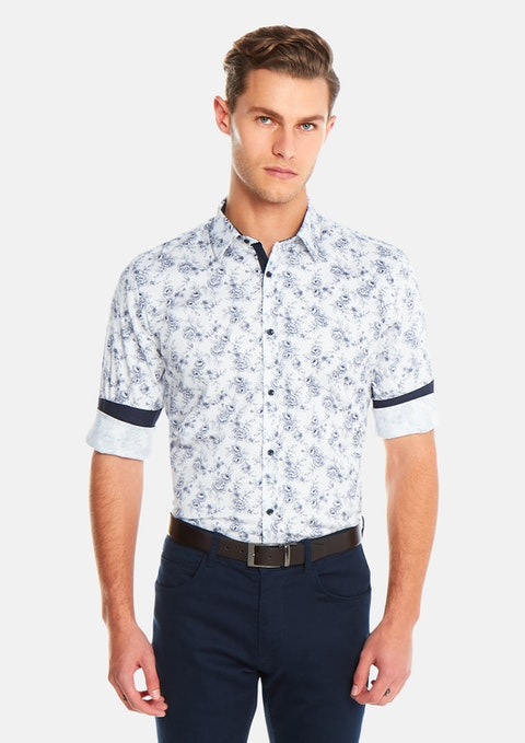 White Floral Slim Fit Shirt