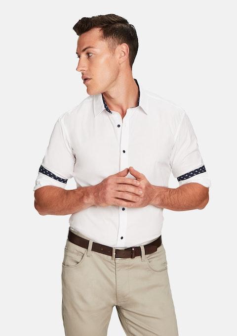 White Contrast Flamingo Slim Fit Shirt