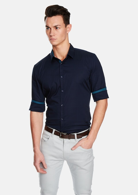 Dark Blue Fisher Slim Fit Shirt