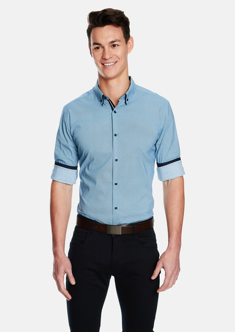 Teal Leeman Teal Slim Fit Shirt