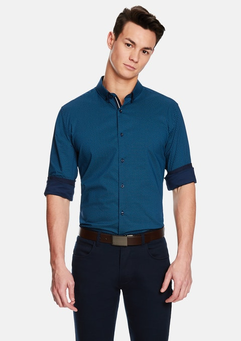 Teal Windmill Slim Shirt