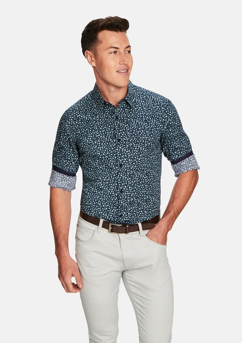 Navy Print Maritz Slim Fit Shirt