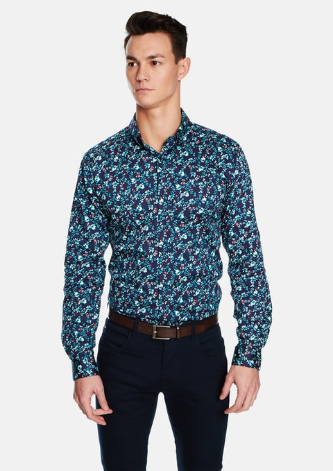 Dark Blue Darby Floral Slim Fit Shirt