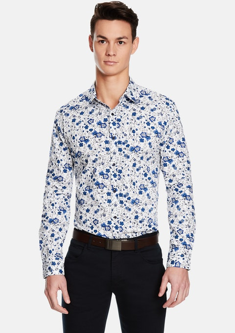 Blue Eden Floral Slim Fit Shirt