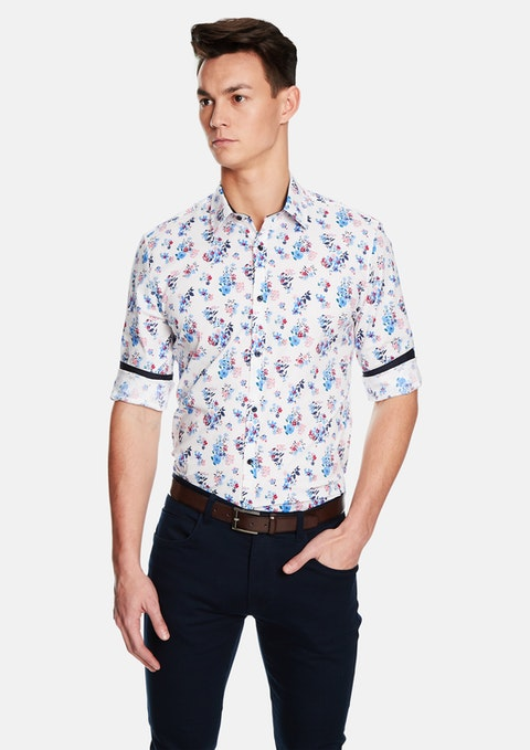 White Ballina Floral Slim Fit Shirt