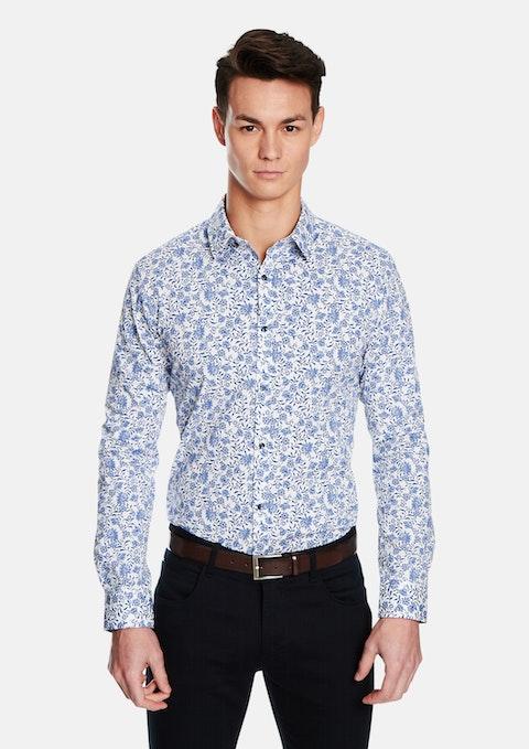 Blue Bora Floral Slim Fit Shirt
