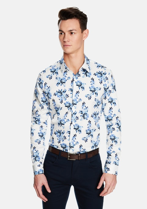 White Maui Floral Slim Shirt