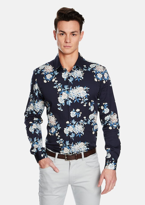 Dark Blue Orient Slim Fit Shirt