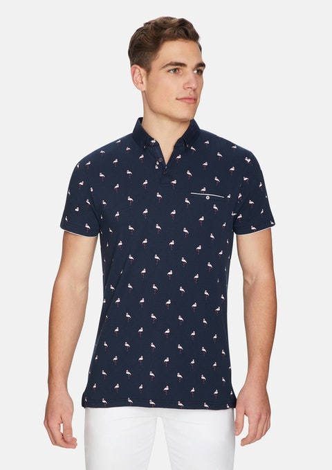 Dark Blue Flamingo Polo