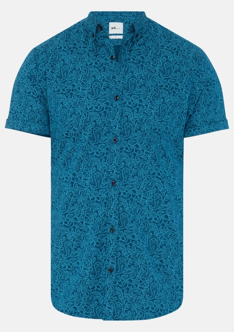 Teal Paisley Teal Slim Fit Ss Shirt