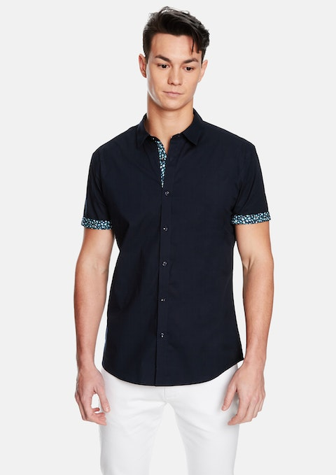 Navy Victory Slim Fit Ss Shirt