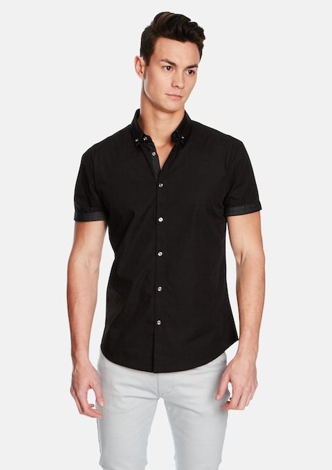 Black Nightrider Slim Fit Ss Shirt