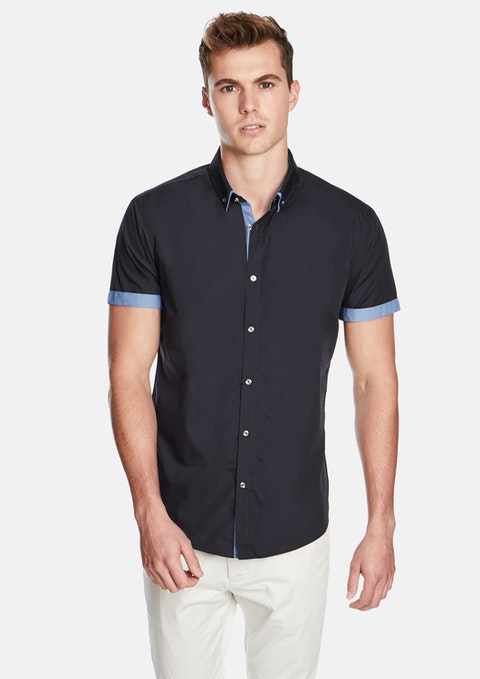 Navy The Town Slim Fit Ss Shirt