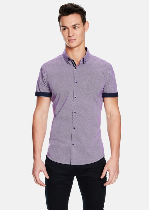 Purple Leeman Slim Fit Ss Shirt