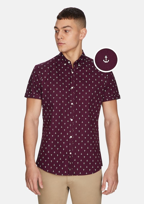 Burgundy Large Anchor Ss Shirt