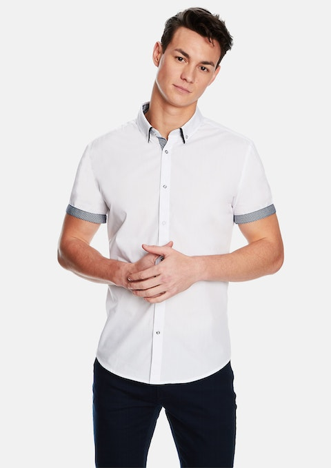 69a2c8e3351 White The City Slim Fit Ss Shirt by yd.