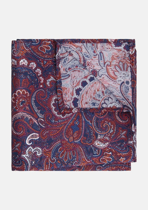 Red/navy Paisley Large Paisley Pocket Square